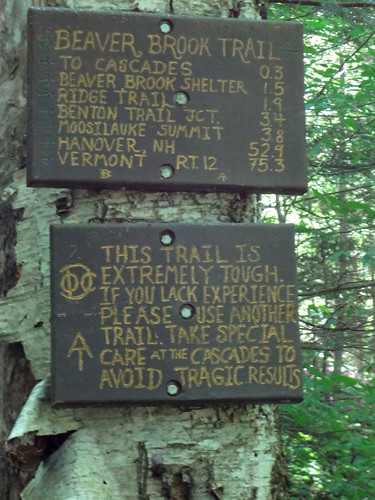 Caution Sign on Beaver Brook Trail