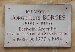 Jorge Luis Borges plaque - rue des Beaux Arts,...