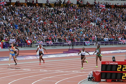 Margaret Adeoye of Team GB crosses the line in the 200m at the London 2012 Olympics