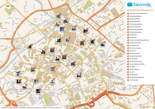 Manchester printable tourist attractions map