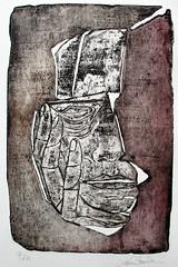 LAURA BERTAZZONI, La testa di pietra, acquaforte, morsura aperta, elettroutensile, 2015
