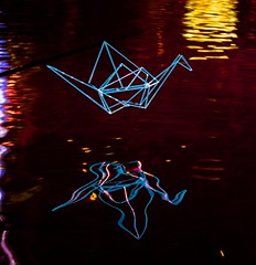 Neon Crane with reflection