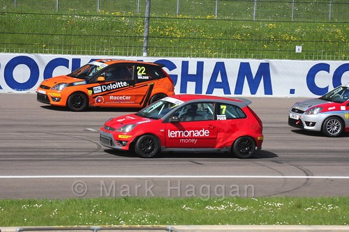 Elliot Wilson and Cameron Pugh in Fiesta Junior Racing during the BRSCC Weekend at Rockingham, May 2016