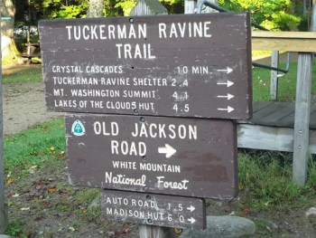 Tuckerman Ravine Trail Sign