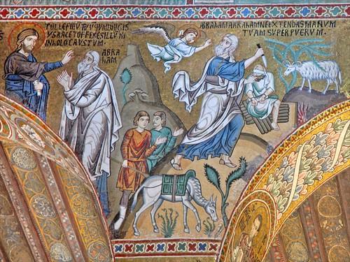 Le sacrifice d'Isaac par Abraham (mosaïques de...