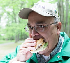 "Ray/KJ4CNN enjoys a burger • <a style=""font-size:0.8em;"" href=""http://www.flickr.com/photos/54494252@N00/7161946192/"" target=""_blank"">View on Flickr</a>"