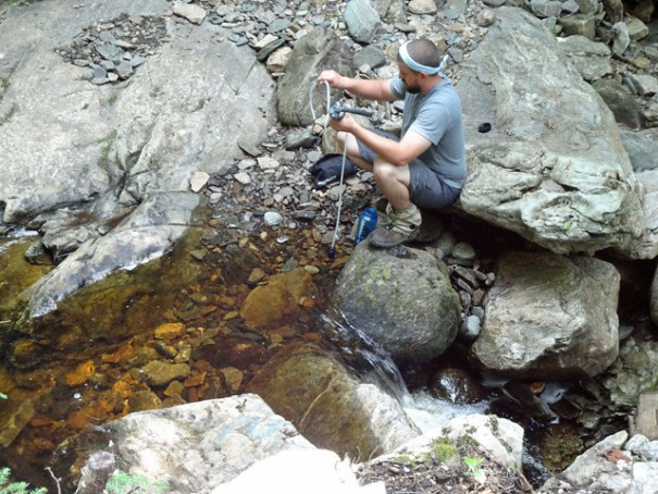 Filtering Water at South Jacob's Brook on NH Appalachian Trail
