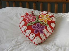 Vintage Chenille Red Heart Pillow
