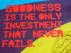 Goodness is the only investment that never fai...