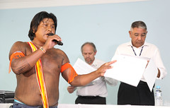 Xikrin Kayapo leaders speaking to Norte Energia