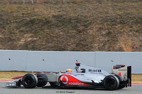 Lewis Hamilton in his McLaren F1 car in Formula One Winter Testing, Circuit de Catalunya, March 2012