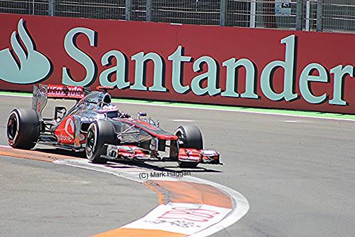 Jenson Button in his McLaren F1 car during the 2012 European Grand Prix in Valencia