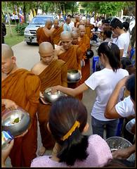 'Khao Phansa at the Temple..'    Monks recievi...
