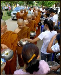 'Khao Phansa at the Temple..'    Monks recievi...