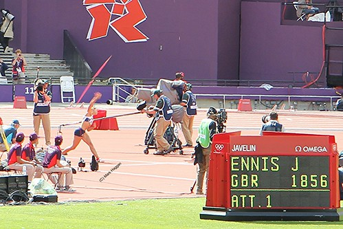 Jessica Ennis of Team GB throws the javelin in the women's heptahalon at the London 2012 Olympics