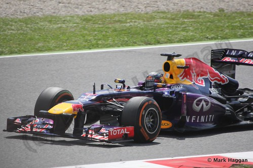 Sebastian Vettel in Free Practice 3 for the 2013 Spanish Grand Prix
