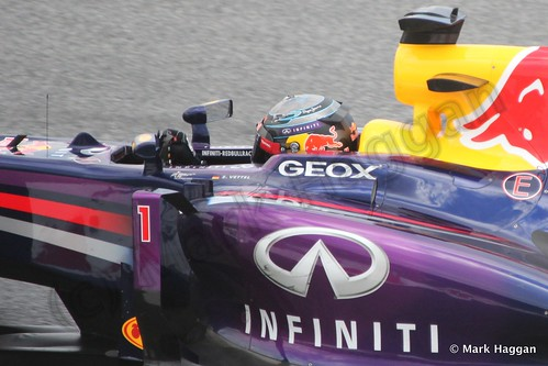 Sebastian Vettel in Free Practice 2 at the 2013 Spanish Grand Prix