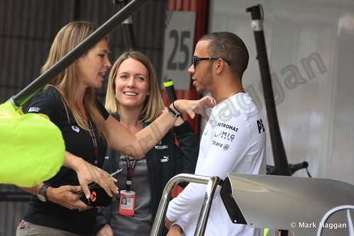 Lewis Hamilton being interviewed at the 2013 Spanish Grand Prix