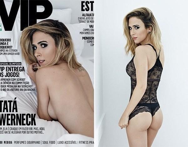 """De lingerie, Tatá Werneck mostra bumbum em ensaio na """"Vip"""""""