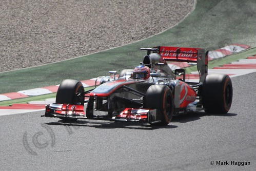 Jenson Button in Free Practice 3 for the 2013 Spanish Grand Prix