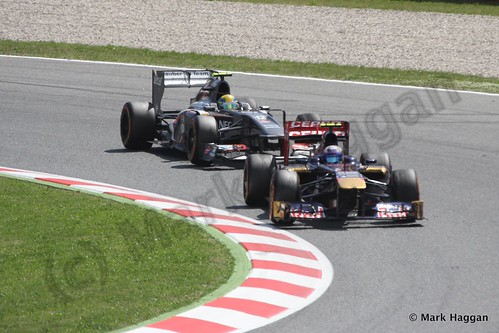 Esteban Gutierrez follows Daniel Ricciardo in the 2013 Spanish Grand Prix
