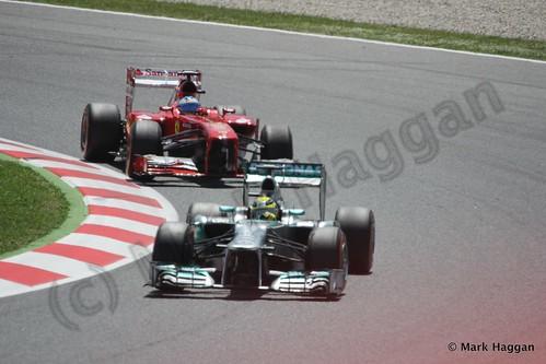 Lewis Hamilton and Fernando Alonso in the 2013 Spanish Grand Prix