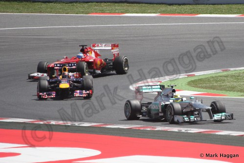 Lewis Hamilton, Sebastian Vettel and Fernando Alonso in The 2013 Spanish Grand Prix