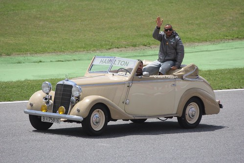 Lewis Hamilton in the Drivers' Parade at the 2013 Spanish Grand Prix