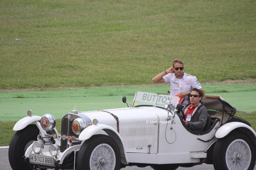 Jenson Button in the Drivers' Parade at the 2013 Spanish Grand Prix
