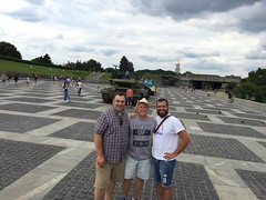Titarchuk, Moss and Somotov at World War II Memorial in Kyiv