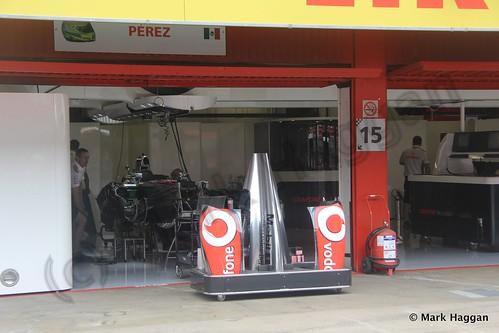 Sergio Perez' McLaren pit garage at the 2013 Spanish Grand Prix
