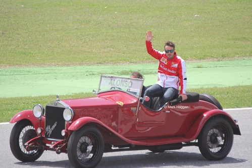 Fernando Alonso in the Drivers' Parade at the 2013 Spanish Grand Prix
