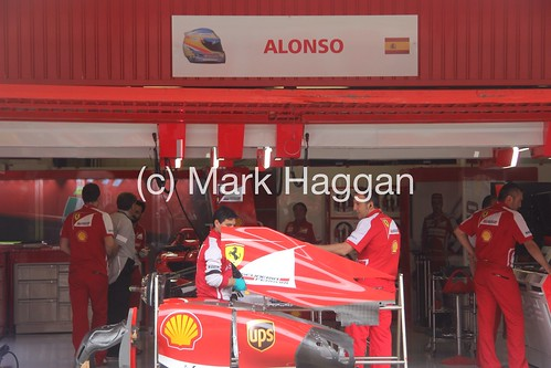Fernando Alonso's garage at the 2013 Spanish Grand Prix