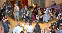 Emperor Norton's Stationary Marching and Big Nazo creatures mix it up at the Old Stone Bank
