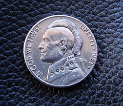 """'Punks not dead' Hobo nickel carving on a 1981 Jefferson 5 cents USA coin (4) • <a style=""""font-size:0.8em;"""" href=""""http://www.flickr.com/photos/72528309@N05/8715316030/"""" target=""""_blank"""">View on Flickr</a>"""