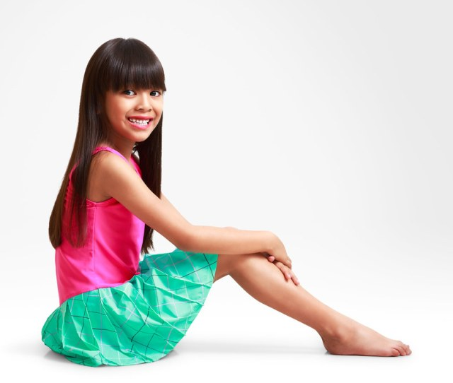Smiling Little Asian Girl In Swimsuit Isolated On Grey Background With Clipping Path Patrick