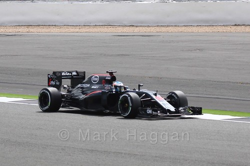 Fernando Alonso in his McLaren in Free Practice 2 at the 2016 British Grand Prix