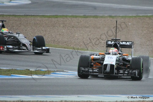 Sergio Perez and Esteban Gutierrez at Formula One Winter Testing 2014