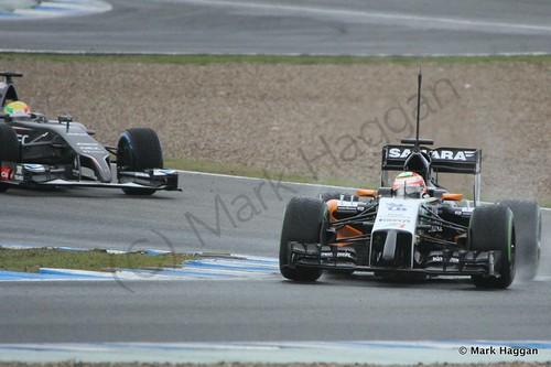 Sergio Perez and Esteban Gutierrez at Formula One Winter Testing 2014