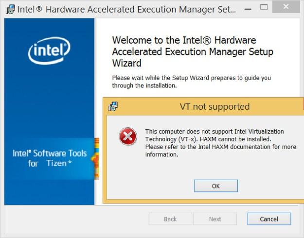 VT not Supported - This computer does not support Intel Virtualization Tech nology (VT0x). HAXM cannot be installed. Please refer to the Intel HAXM documentation for more information.