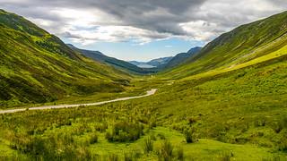 Valle glacial en Escocia