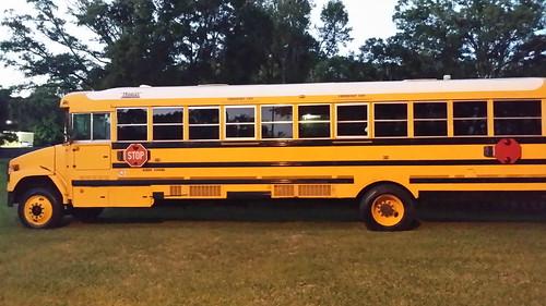 old 1950s schoolbus antiqe stoparm