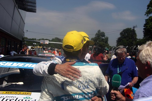 Colin Turkington and Jason Plato celebrate during the BTCC weekend at Oulton Park, June 2016