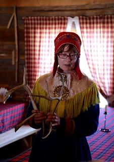 Sami woman with female reindeer antlers