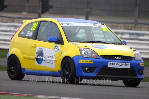 Ronan Quinn in the BRSCC Fiesta Junior Championship at Silverstone, April 2015