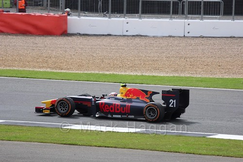 Pierre Gasly in the Prema Racing car in the GP2 Feature at the 2016 British Grand Prix