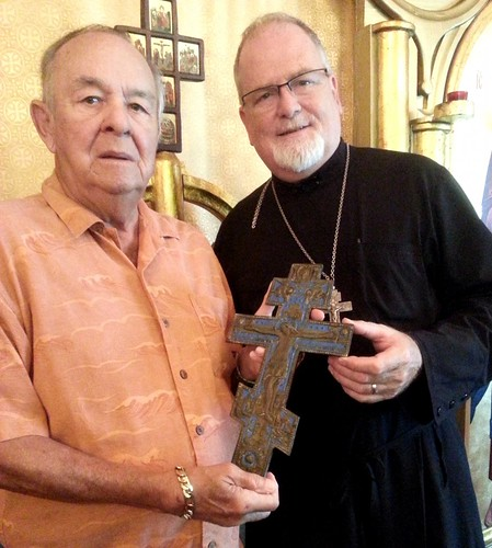 "George and Fr. Stephen with Cross • <a style=""font-size:0.8em;"" href=""http://www.flickr.com/photos/72479515@N06/16920267487/"" target=""_blank"">View on Flickr</a>"
