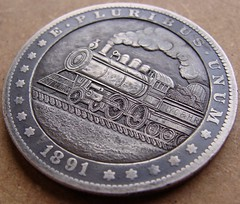 """'Empire State Express' Hobo nickel/coin carving • <a style=""""font-size:0.8em;"""" href=""""http://www.flickr.com/photos/72528309@N05/26767059611/"""" target=""""_blank"""">View on Flickr</a>"""