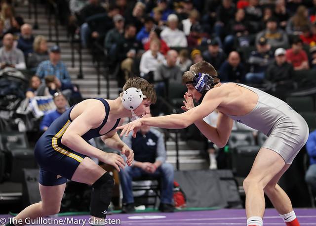 126AA Semifinal - Jake Svihel (Totino-Grace) 57-0 won by tech fall over Jake Nelson (Becker) 42-5 (TF-1.5 5:28 (23-8)). 190302AMC3177