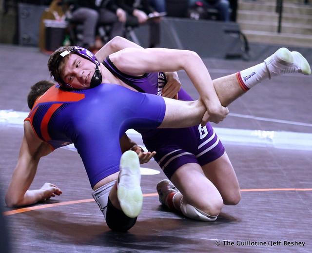 160 – Kelby O'Reilly (Goodhue) over Austin Carr (LPGEB) Fall 1:23. 190228AJF0085